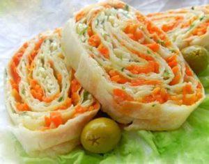 Как приготовить лаваш с корейской морковкой и сыром